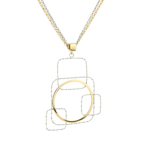 Fraboso® Sterling Silver two tone plated geometric duo chain necklace