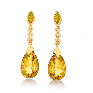 Citrine and Diamond Drop Earrings in 9kt Yellow Gold