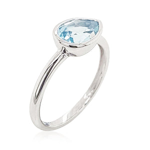 1.46ct Pear Shape London Blue Topaz Ring in 9kt White Gold