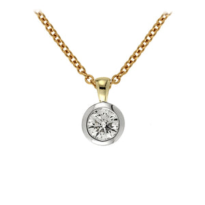 Diamond Bezel pendant with 0.34ct diamond in 9kt yellow gold and chain