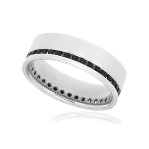 Gents band with 0.50ct black diamonds in 9kt white gold