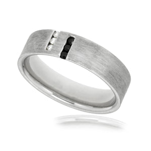 Gents band with white and black diamonds in 9kt white gold