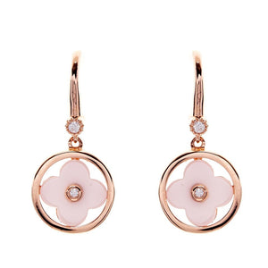 Sybella Rose gold, ceramic and cubic zirconia flower earrings