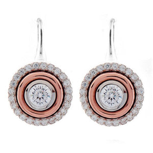 Sybella Rhodium & rose gold plate cubic zirconia round earring