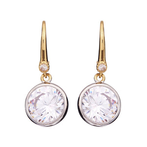 Sybella Gold plate bezel set cubic zirconia earrings