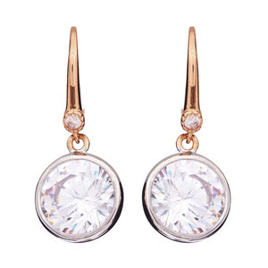 Sybella Rose gold plate bezel set cubic zirconia earrings
