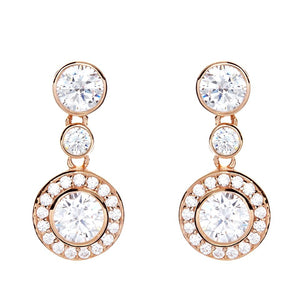 Sybella Rose gold and cubic zirconia round triple drop earrings