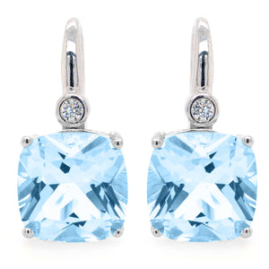 Sybella Sterling Silver Square Aqua and Cubic Zirconia Earrings