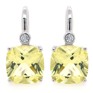Sybella Sterling Silver Square Lemon Quartz and Cubic Zirconia Earrings