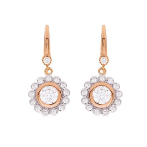 Sybella Rose gold plated clear cubic zirconia flower hook earrings