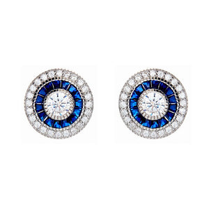 Sybella Silver, blue and clear cubic zirconia stud earrings