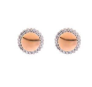 Sybella Rhodium & rose gold cubic zirconia solid circle studs