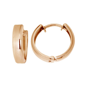 OJCO 375 9ct Gold - 9kt Rose Gold Square Huggie Earrings 12mm