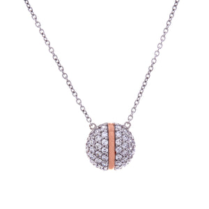 Sybella Rhodium and rose gold pave stripe pendant