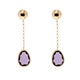 9kt rose gold Italian made natural amethyst drop earrings