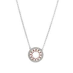 Sybella Rhodium & rose gold plate pave set open circle pendant
