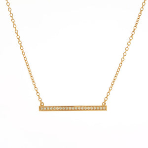 Sybella Yellow gold plate pave cubic zirconia bar necklace
