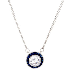 Sybella Round White and Sapphire Cubic Zirconia Necklace in Sterling Silver