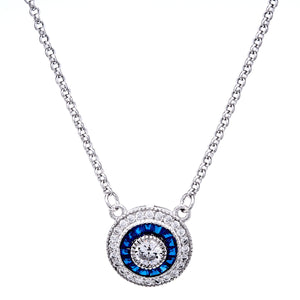 Sybella Silver, blue and clear cubic zirconia necklace