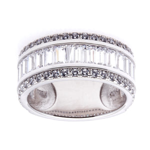 Sybella Princess cut cubic zirconia sterling silver dress ring size O
