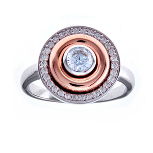 Sybella Rhodium and rose gold plate cubic zirconia round ring