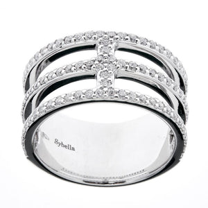 Sybella Silver and cubic zirconia wide band dress ring