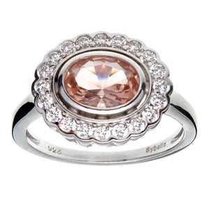 Sybella Oval Morganite and White Cubic Zirconia Ring in Sterling Silver Size P