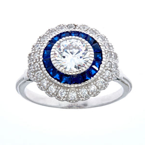 Sybella Silver, blue and clear cubic zirconia dress ring