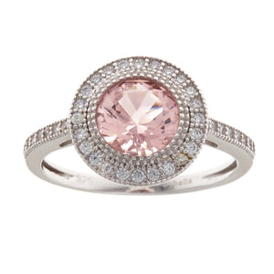 Sybella Silver and morganite micro pave round ring