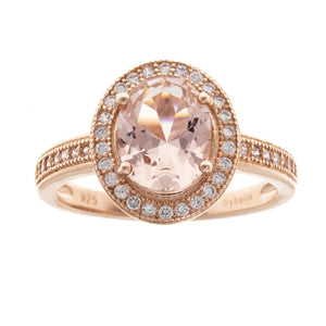 Sybella Rose gold plate and morganite oval ring Size P