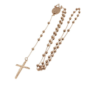OJCO 375 9ct Gold - 9kt Rose Gold Rosary Beads Necklace 6.00grams