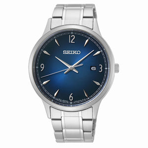 Seiko Mens Quartz Analogue Blue Dial Stainless Steel Watch SGEH89P