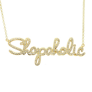 Jo Munro Collection Shopaholic Necklace in 18kt Yellow Gold Plated Sterling Silver - Sterling Silver - Swarovski Crystal