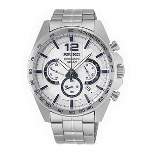 Seiko Mens Quartz Chronograph White Dial Stainless Steel Watch SSB343P