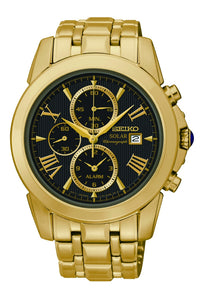 Seiko Men's Le Grand Sport Solar Alarm Chronograph Yellow Gold Stainless Steel Watch SSC196P-9