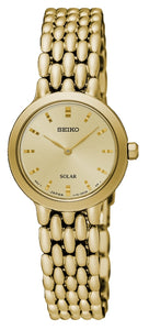Seiko ladies' solar analogue yellow gold plated stainless steel watch SUP352P