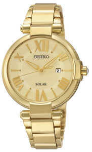 Seiko ladies' conceptual regular solar analogue yellow gold plated watch SUT176P-9
