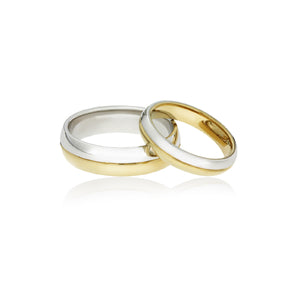 Gents gold wedding ring - bi-tone band