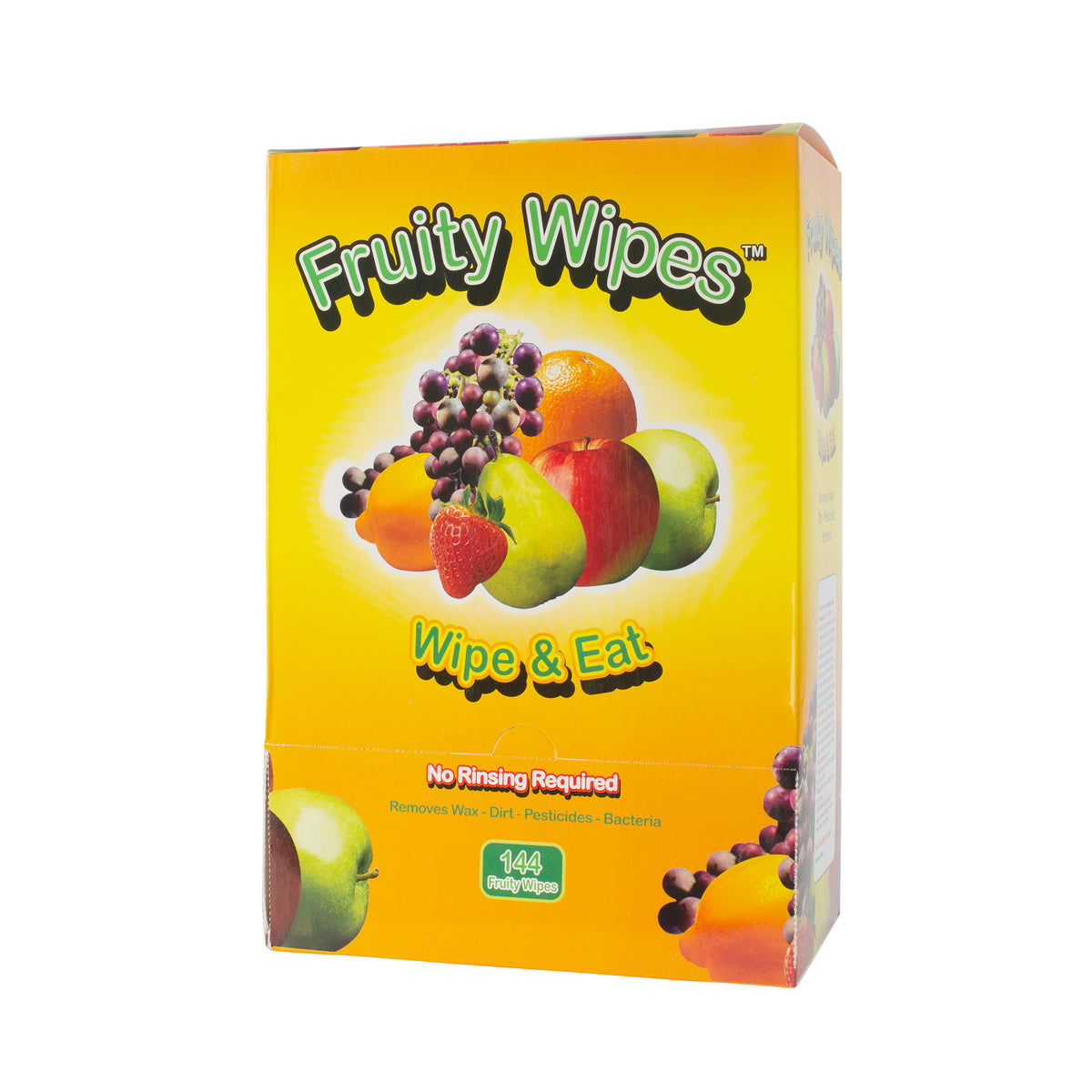 Fruity Wipes 144 Count Box of All Natural Individually Wrapped Wipes to clean fruits and vegetables.