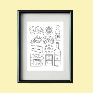 A4 'Cheese and Wine' Print