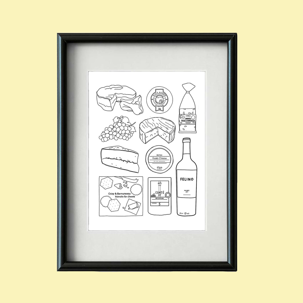 Cheese and Wine Print A4