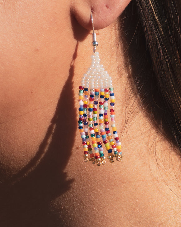 Sprinkle Beaded Fringe Earrings