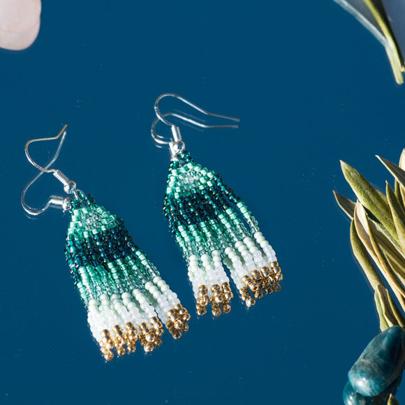 Lagoon Beaded Fringe Earrings