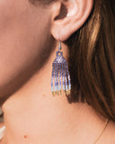 Midnight Beaded Fringe Earrings