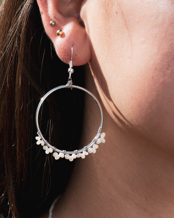 Confetti Pearl Hoop Earrings