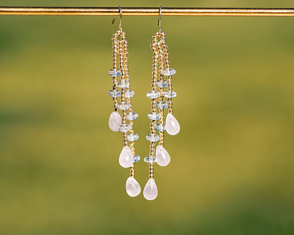 Gilded Rose Crystal Rain Earrings