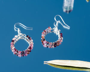Cherry Blossom Gemstone Hoops
