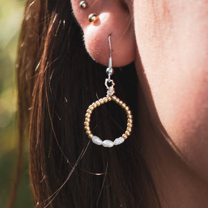 Mini Golden Pearl Hoops