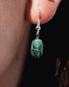Raw Emerald Wire Wrapped Earrings