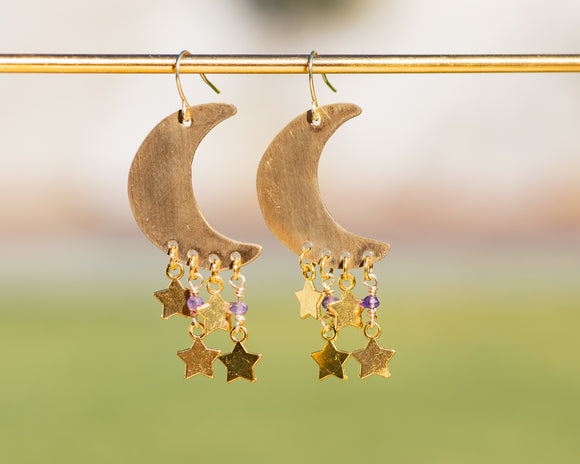 Celestial Amethyst Crescent Moon Earrings